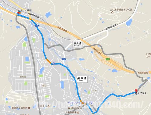 上ノ太子 から 太子温泉 Google マップ