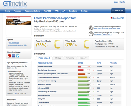 Latest Performance Report for http hacks beck1240 com GTmetrix