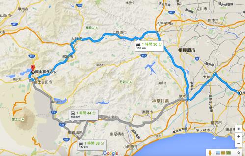 東海道 から 湖山亭うぶや Google マップ