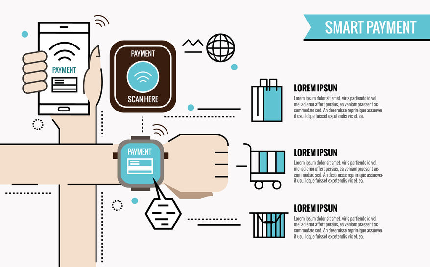 52422166 - smart payment infographic. smartphone and watches with processing of protected mobile payments from credit card nfc technology. flat thin line design elements. vector illustration