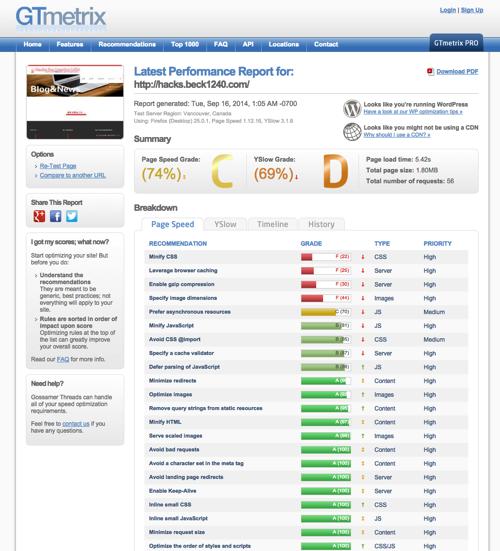 Latest Performance Report for http hacks beck1240 com GTmetrix