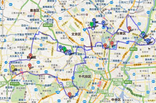 第4回東京夢舞いポタリング コース  Google マップ